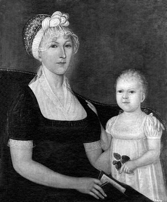Joshua Johnson (painter) - Mrs. Abraham White Jr. (Martha Bussey) and Rose Elizabeth White (Mrs. Abner Neale), ca. 1810. Oil on canvas, 30 x 25 in. Photographed in a private collection in Westminster, Maryland