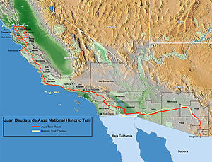 Juan Bautista de Anza National Historic Trail - MAP: Juan Bautista de Anza National Historic Trail routes in Arizona and California.