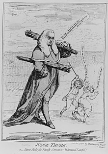 Cartoon of Sir Francis Buller in judges' robes and powdered wig, carrying bundles of rods whose ends resemble thumbs; in the background, a man with a rod raised over his head is about to strike a woman who is running away from him