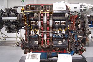 Blohm & Voss BV 138 - A Jumo 207 opposed-piston aviation diesel engine - note propshaft at upper front of engine, a distinct feature of the Jumo aviation diesels.