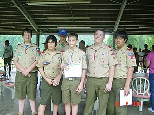 Boy Scouting (Boy Scouts of America) - Five new graduates of BSA's Junior Leader Training, June 2004