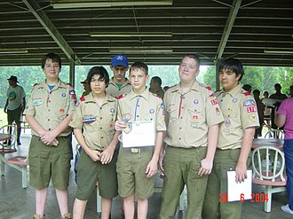 Scouts BSA - Five new graduates of BSA's Junior Leader Training, June 2004