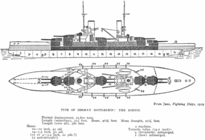 SMS Kronprinz - Image: König class battleship Jane's Fighting Ships, 1919 Project Gutenberg etext 24797