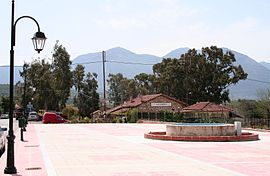Kalo Nero square, with the railway station behind