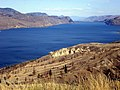 Kamloops Lake at Copper Creek from Savona (Steelhead Prov. Park) ^^Blue color from copper oxyde - panoramio.jpg