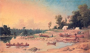 Fur brigade - Paul Kane's Encampment shows a canoe brigade camp on the Winnipeg River in June 1848 being visited by a group of Saulteaux