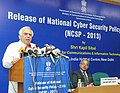 Kapil Sibal addressing at the release of the National Cyber Security Policy 2013, in New Delhi on July 02, 2013. The Secretary, Electronics & IT, Shri J. Satyanarayana is also seen.jpg