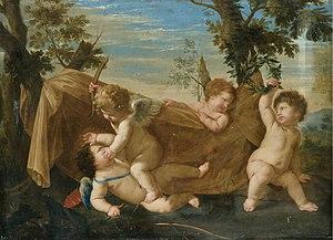 Karel Philips Spierincks - An allegorical scene with putti fighting