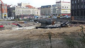 Rawa (river) - Rawa across Katowice market square during reconstruction