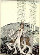Kay Nielsen - East of the sun and west of the moon - the lassie and her godmother - and then he coaxed her down and took her home.jpg