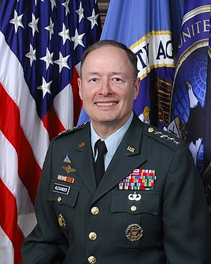 Official portrait of NSA director Keith B. Ale...