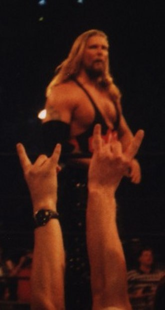 Kevin Nash - Nash, Scott Hall and Sean Waltman called themselves The Wolfpac and made hand gestures the crowd are seen giving Nash here