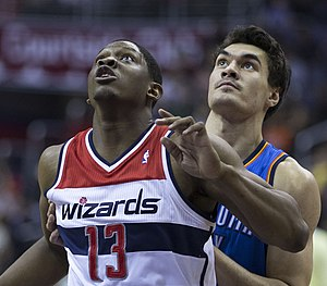 Steven Adams - Adams (right) and Kevin Séraphin of the Washington Wizards in 2014