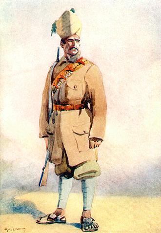 Khyber Rifles - Khyber Rifles. Watercolour by Maj AC Lovett, 1910.