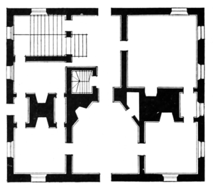 Governor's Palace (Williamsburg, Virginia) - Ground floor plan of the Governor's Palace (from the original, not the reconstruction). This plan doesn't show the ballroom extension to the rear (at top).