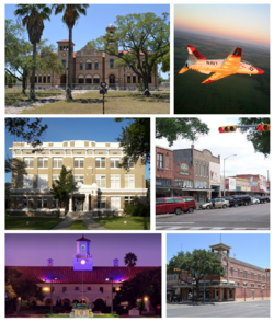 Clockwise from top: Kingsville City Hall, T-45 Goshawk assigned to Naval Air Station Kingsville, Downtown Kingsville, John B. Ragland Mercantile Company Building, College Hall at Texas A&M University-Kingsville, and the Kleberg County Courthouse