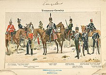 Drawing illustrating different yeomanry uniforms