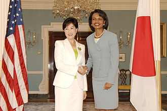 "Yuriko Koike - Koike, dubbed ""Japan's Condi Rice"", shakes hands with Condoleezza Rice in August 2007."
