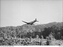 A transport plane flying at low level away from the camera, dropping supplies over a clearing in the jungle