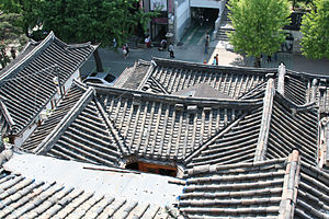 Traditional Korean roof construction - Looking down on hanok rooftops, Samcheong-dong.