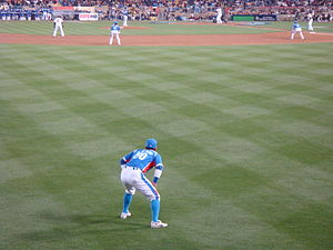 Baseball in South Korea - Korean baseball player Kim Hyun-soo in the outfield during the 2009 World Baseball Classic.
