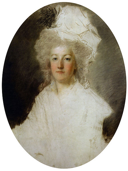 Marie-Antoinette, c. 1792. A blow from a pike struck by a revolutionary is visible on the lower part of the work (unfinished pastel portrait by Alexandre Kucharski). Kucharski's Marie Antoinette.jpg