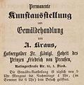 Kunstausstellung und Gemäldehandlung A. Kraus, Ratingerstraße Nr. 85, 1. Stock, 1847.jpg