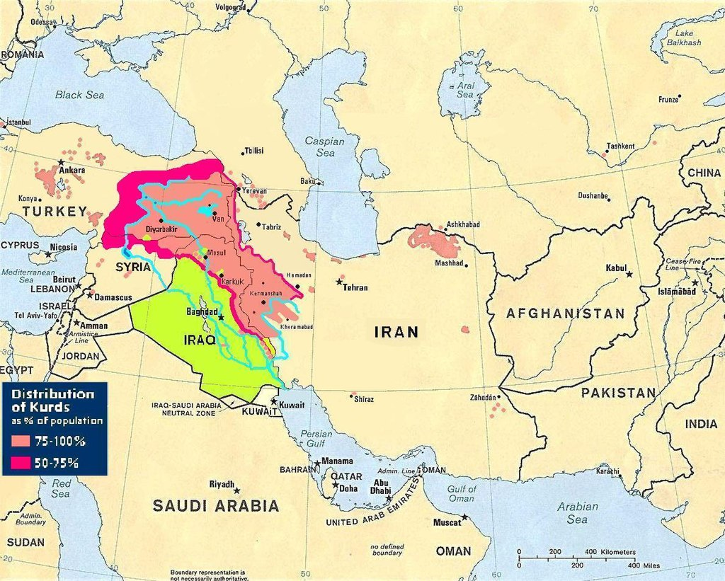 Kurdish-inhabited areas of the Middle East and the Soviet Union in 1986