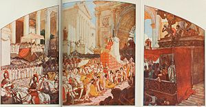 Elagabalus - The triumph of Elagabalus, with the baetyl behind him, as illustrated by A. Leroux (1902)