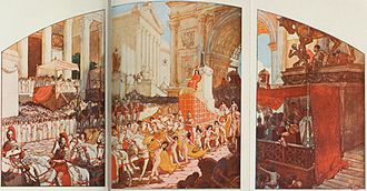 Elagabalus - Elagabalus' entrance into Rome, with the baetyl behind him, as illustrated by Auguste Leroux for the 1902 edition of the novel L'Agonie by Jean Lombard.