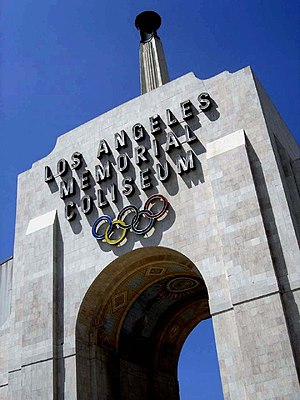 Los Angeles Memorial Coliseum - The arch entrance to the Coliseum.