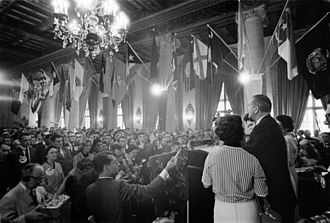 1960 Democratic National Convention - Johnson speaks to a crowd at the Biltmore Hotel