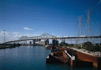 Calumet River - The Calumet River, with the Chicago Skyway traversing it