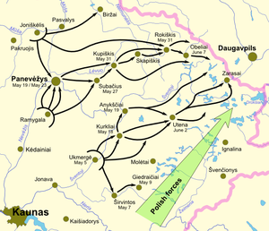 Lithuanian–Soviet War - Lithuanian offensive May–June 1919. Dates indicate when the town was taken by Lithuanian forces. Pink line marks the border of Lithuania since 1990.