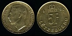 Coin of the former Luxembourg franc