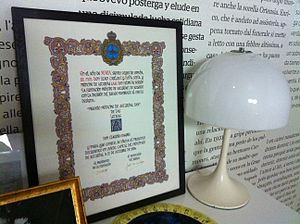 Princess of Asturias Awards - The Award given to Claudio Magris in 2004, shown at the exhibition La Trieste di Magris at CCCB in Barcelona during 2011.