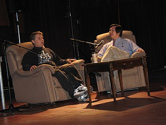 Waterloo Festival for Animated Cinema - Festival curator Joseph C. Chen (right) talking with director Ladd Ehlinger Jr. about his film Flatland at the 2007 festival.