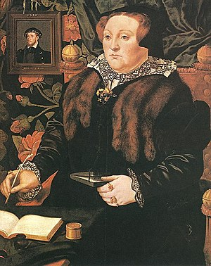 Mary Fiennes, Baroness Dacre - Mary Nevill by Hans Eworth, 1555-1558, with an inset portrait of her first husband Thomas Fiennes dated a year before his death.