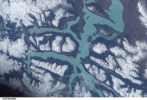 Satellitenbild ISS (Nord nach links)