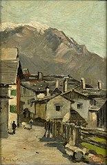 Landhuizen aan een weg, waarachter een hoge berg (Innsbruck?)