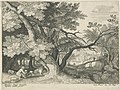 Landscape with Two Hunters by Aegidius Sadeler after Roelant Savery Rijksmuseum Amsterdam RP-P-OB-5177.jpg
