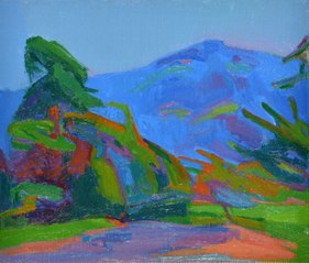 Landscape with blue-purple mountain version 2 (Kanne)