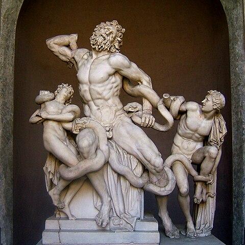 Скульптурная группа «Лаокоон и его сыновья» была опознана по упоминанию у Плиния: «…как, например, в случае с Лаокооном, который находится во дворце императора Тита, произведением, которое должно быть предпочтено всем произведениям и живописи и искусства скульптуры в меди. Его с детьми и причудливыми сплетениями змей создали из единого камня по согласованному замыслу величайшие художники с Родоса Гагесандр, Полидор и Афинодор»