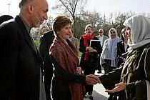 Laura Bush meets Zenat Karzai in 2005.jpg