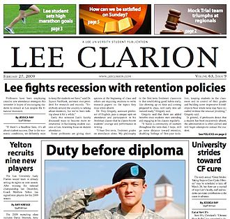 Lee University - Lee University's student newspaper, the Lee Clarion, is published during the academic school year.