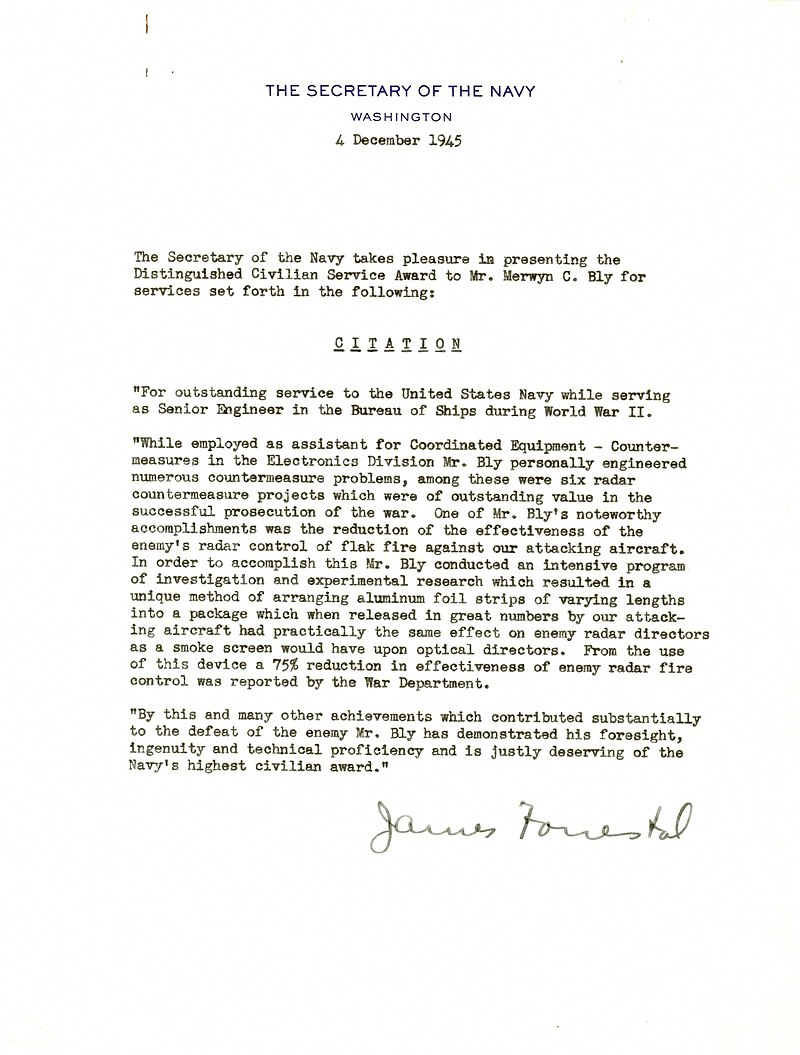 Letter from Secretary of the Navy, James Forrestal, to Merwyn Bly.jpg