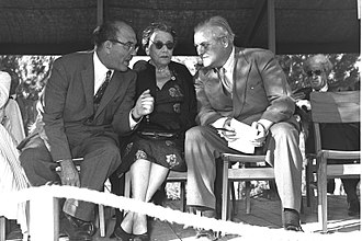 Randolph Churchill - Randolph Churchill (right) with Vera Weizmann and Levi Eshkol at the dedication of the Churchill Auditorium at the Technion