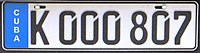 License plate of Cuba 2013 K 000 807.jpg
