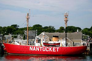 United States lightship Nantucket (WLV-612) - Nantucket Lightship at Straight Wharf on Nantucket Island