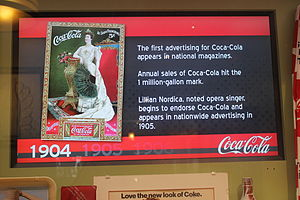 Lillian Nordica - Nordica advertises Coca-Cola in 1904; placard at Biedenharn Museum and Gardens in Monroe, Louisiana.